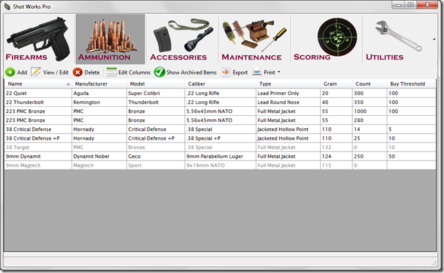 Shot Works Pro Inventory Table